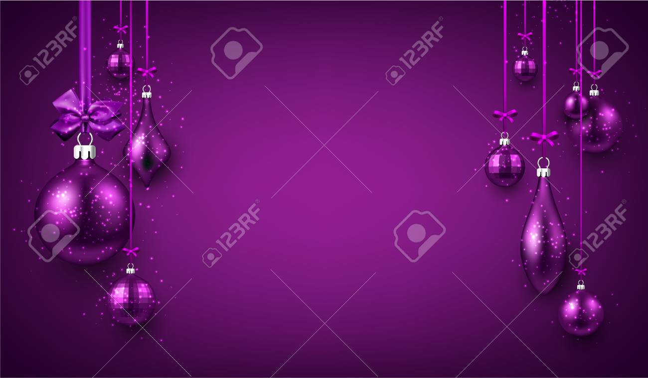 purple luminous new year background with christmas balls vector illustration stock vector 89114481