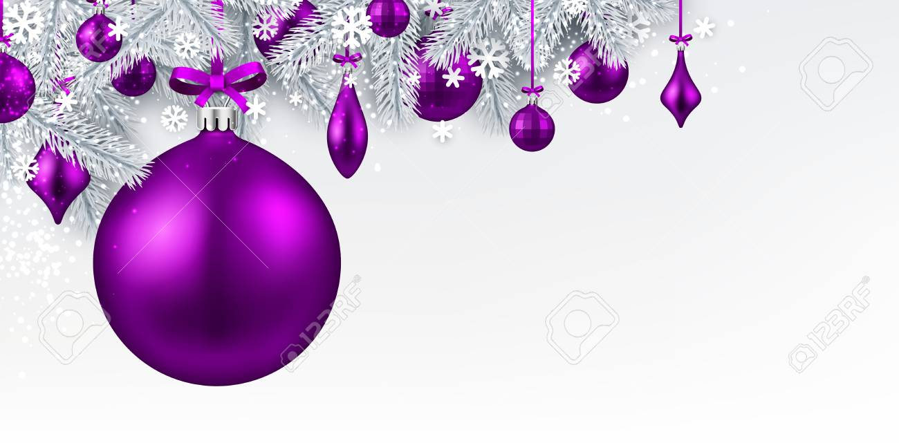 new year background with spruce branches and purple christmas balls vector illustration stock vector