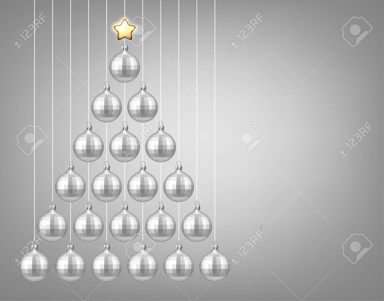 silver new year background with christmas balls vector illustration stock vector 89178808