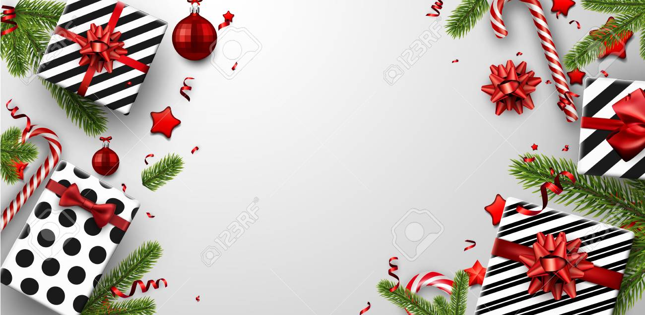 Christmas Top View.White Christmas Background With Fir Branches Gifts And Candy