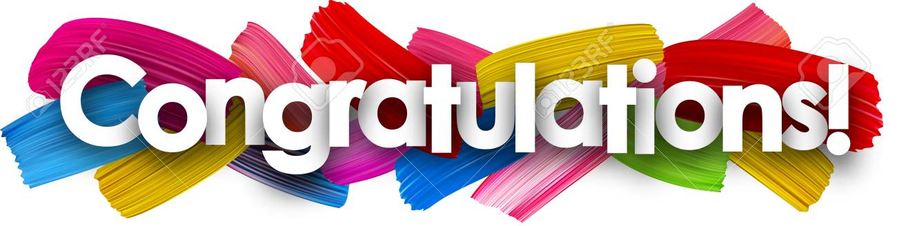 congratulations banner with colorful watercolor brush strokes