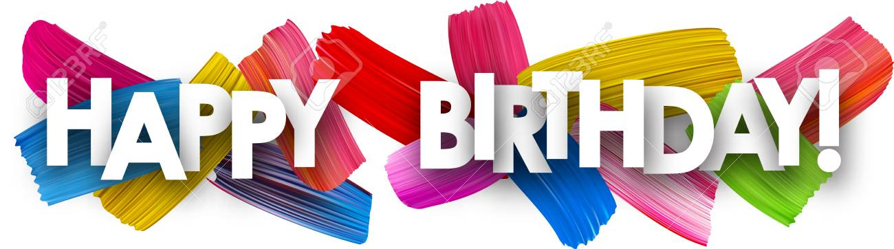 Happy Birthday Banner With Colorful Watercolor Brush Strokes