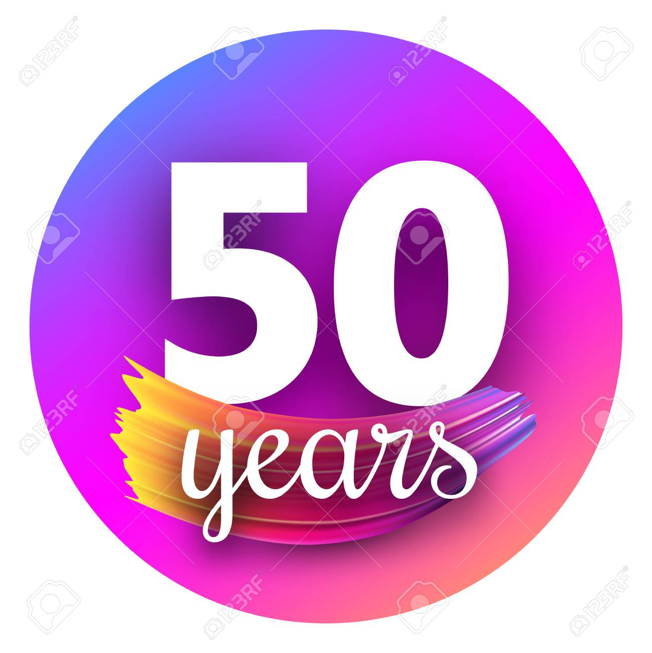 Round spectrum fifty years greeting card with brush stroke. Colorful gradient brush design. Vector paper illustration. - 106175331