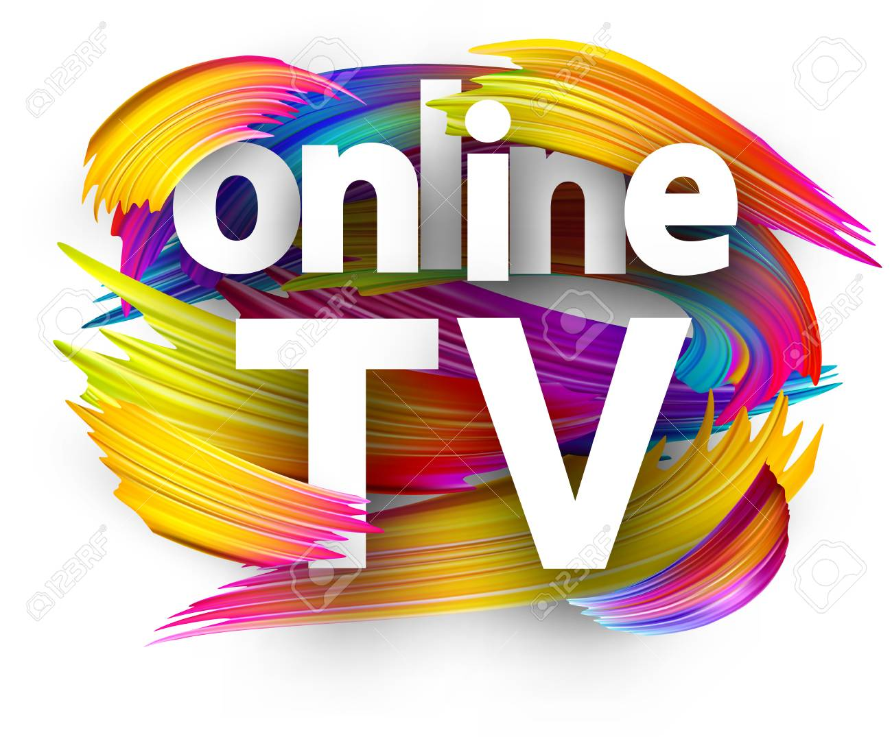 Online TV sign with spectrum brush strokes on white background