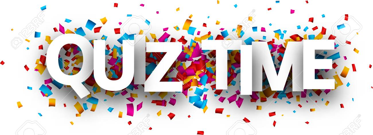 Quiz time banner with colorful paper confetti  Vector background