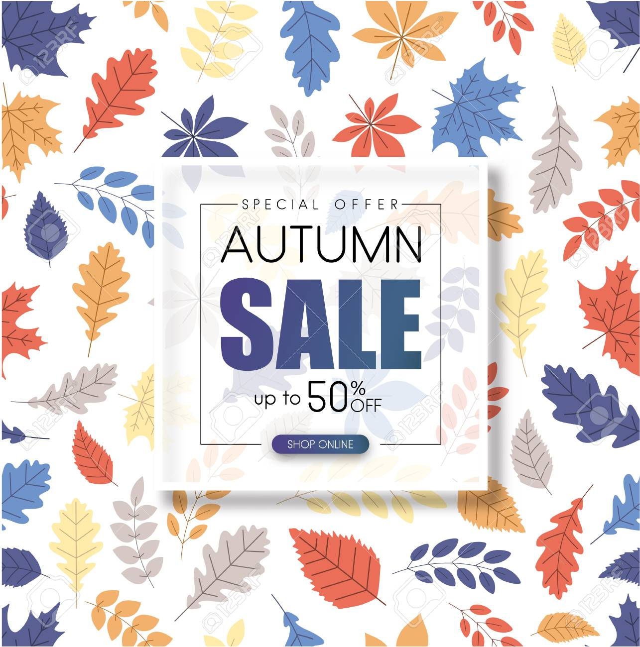 Autumn up to 50% off sale. Promotion poster with color leaves pattern. Shop online. Vector background. - 107812942