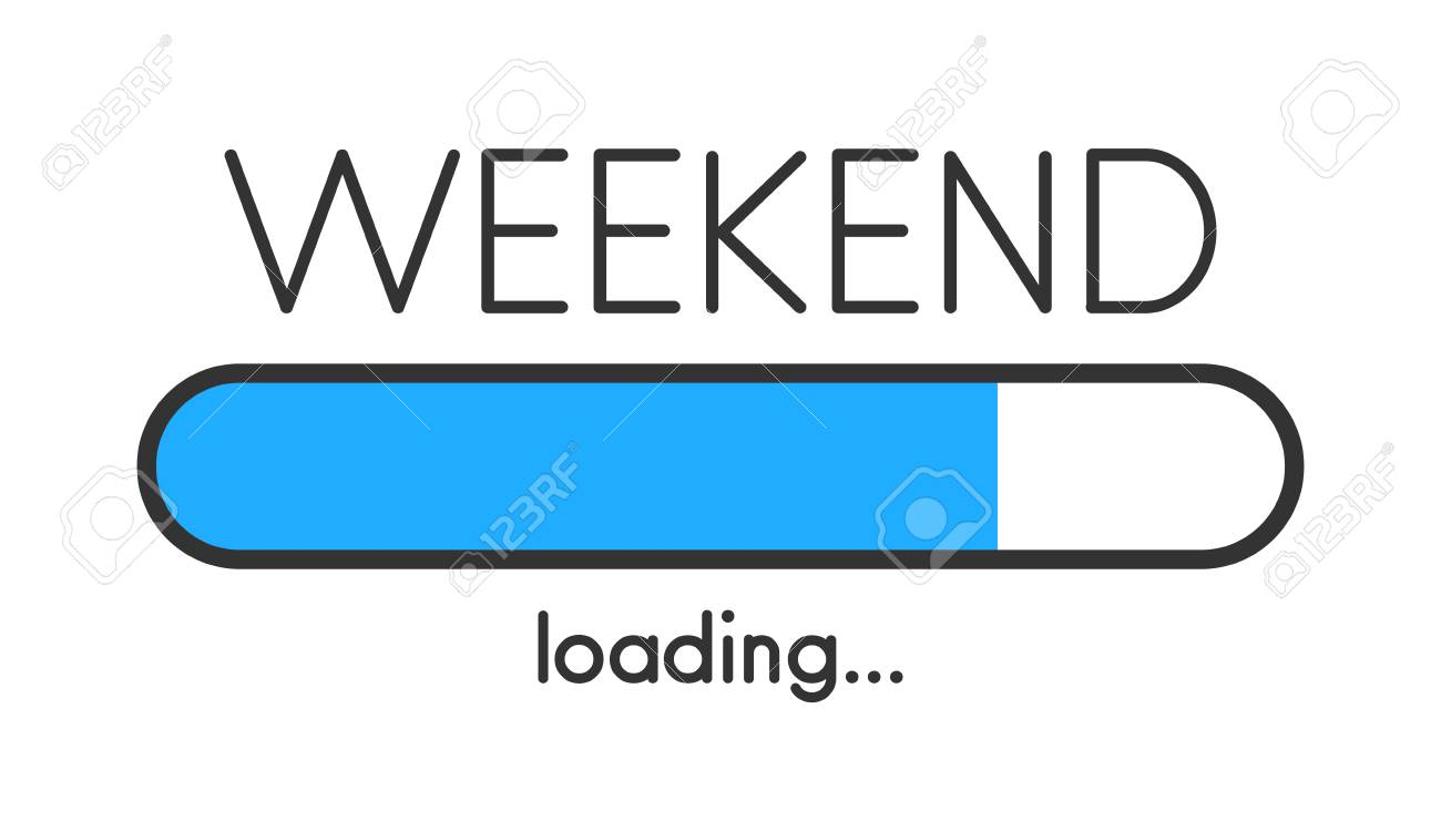 Loading weekend blue creative poster with progress bar. Vector background. - 111280823