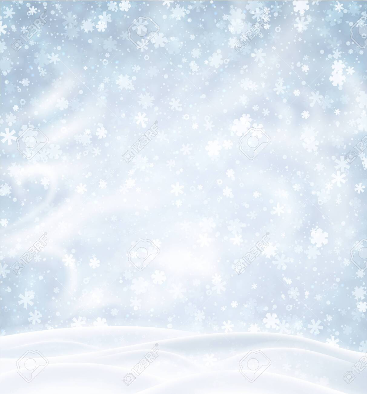 Blue poster with winter landscape, snowflakes and blizzard. Vector background. - 123837254