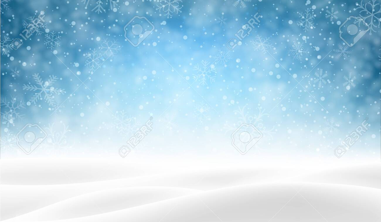 Blue shiny blurred poster with winter landscape and snow for seasonal, Christmas and New Year decoration. Vector background. - 123837315