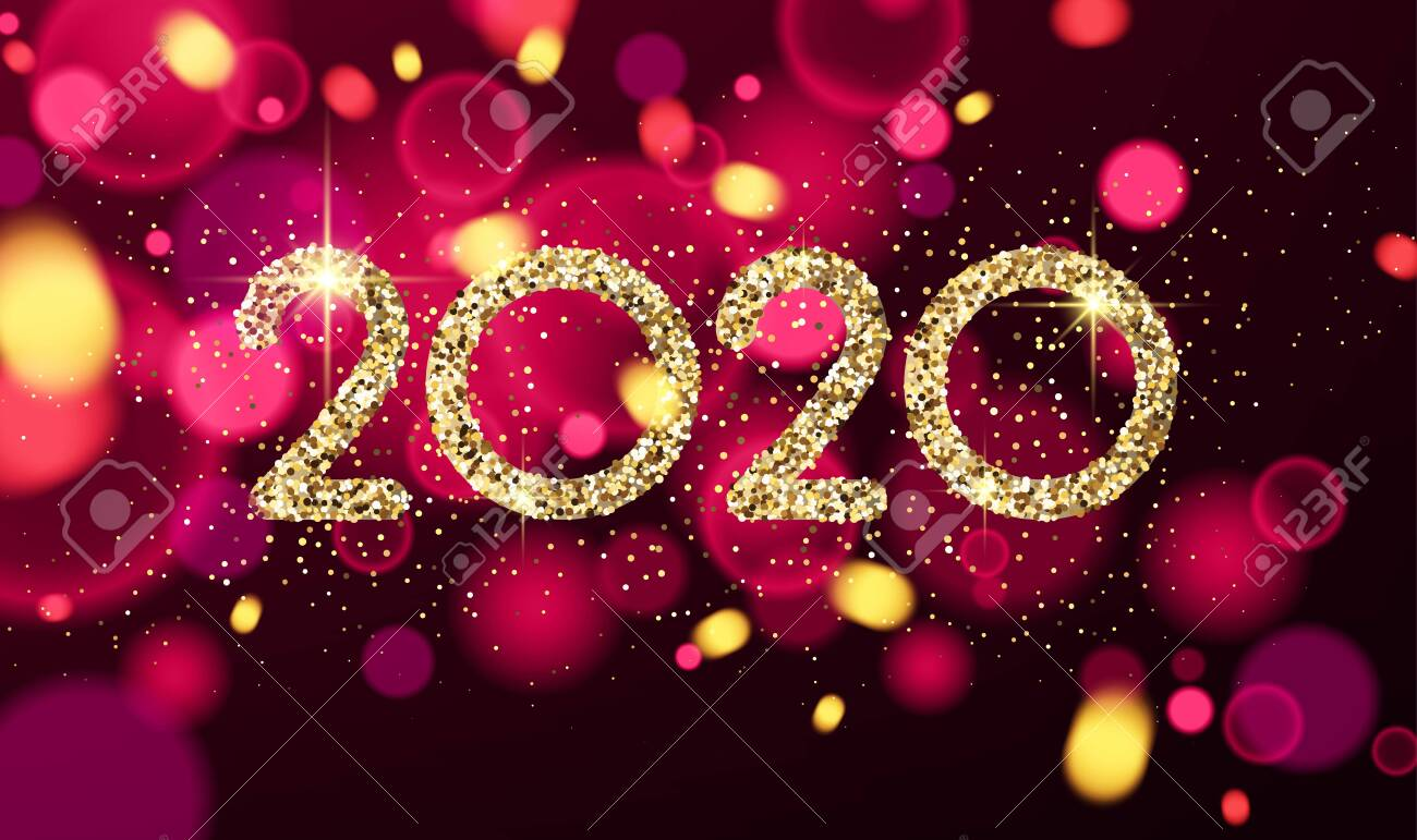 Happy New Year 2020 card with shiny colorful confetti. Vector bokeh background. - 133154887