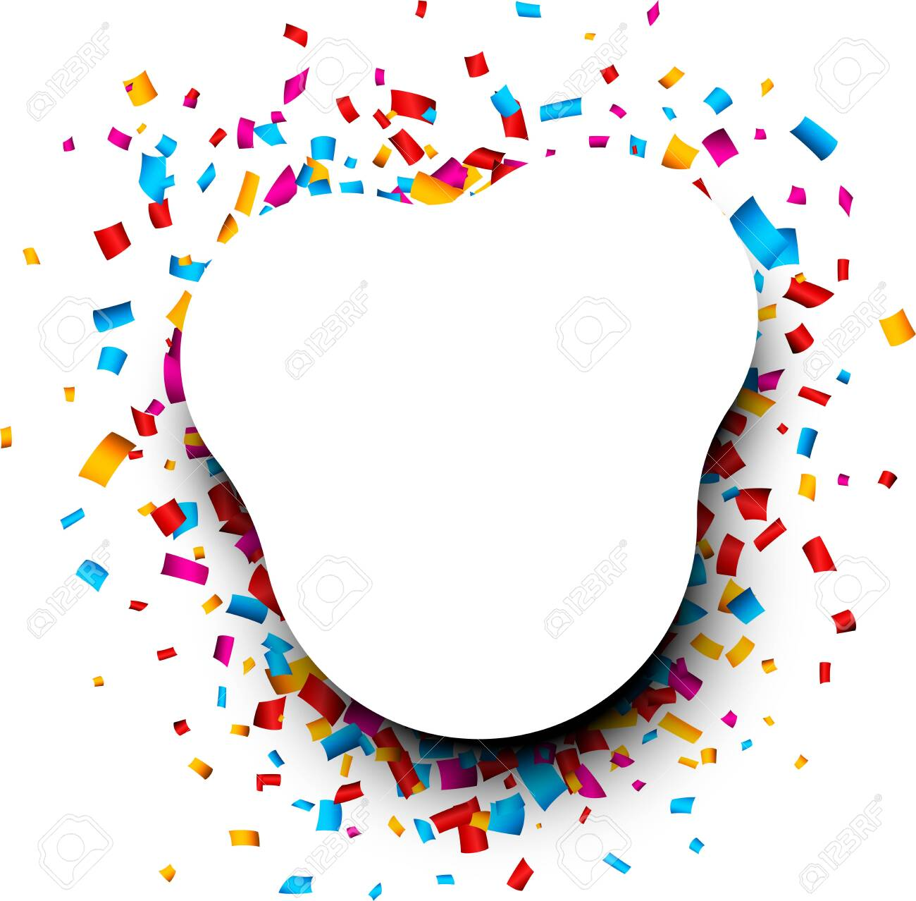 Festive white rounded background with colorful glossy confetti. Vector illustration. - 135178836