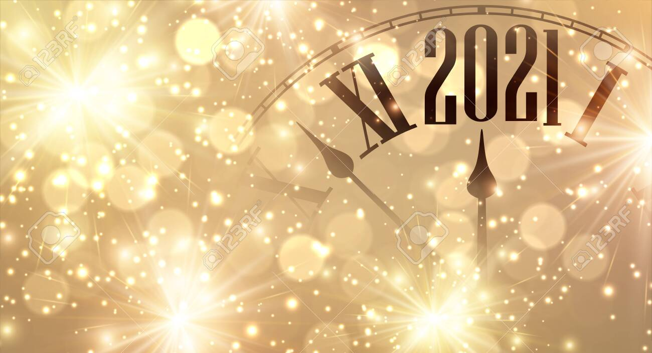 Clock hands showing few minutes to 2021 year. Creative clock on gold sparkling background with lights and fireworks. Vector holiday illustration. - 157600156