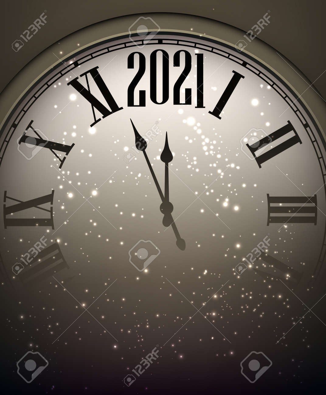 Creative clock showing 2021 year with shiny lights on dark background. Vector holiday illustration. - 157294735