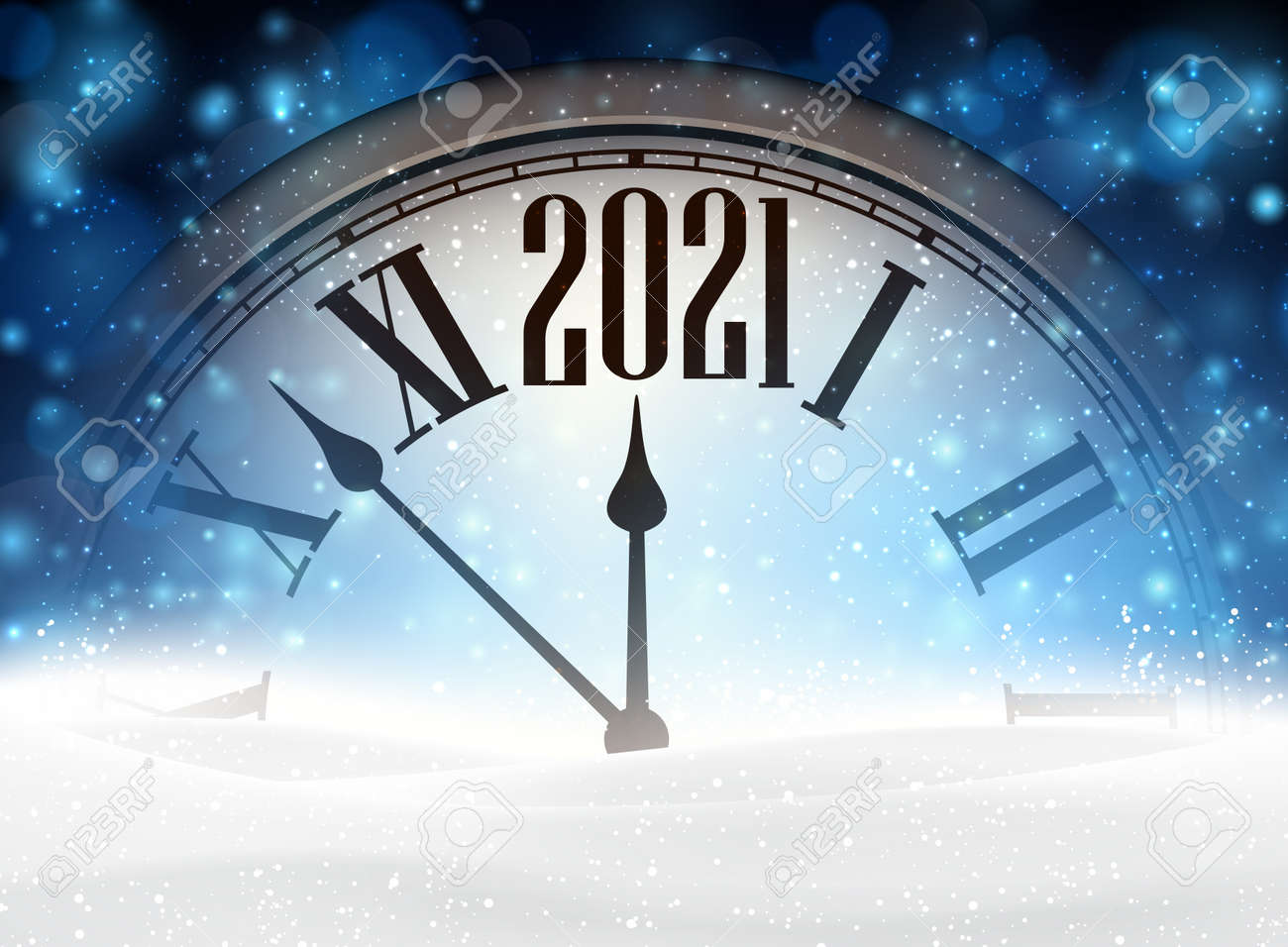 Clock hands showing 2021 year instead of twelve o'clock. Creative clock with shiny lights on blue background. Snowdrift hiding a half of clock. Vector holiday illustration. - 157265584