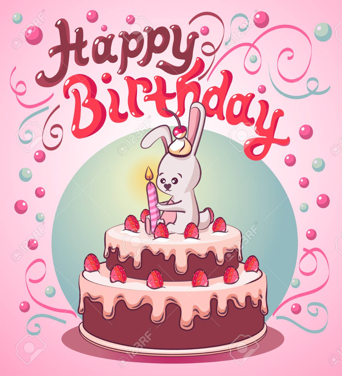 Peachy Happy Birthday Cake With Strawberry Royalty Free Cliparts Vectors Personalised Birthday Cards Paralily Jamesorg