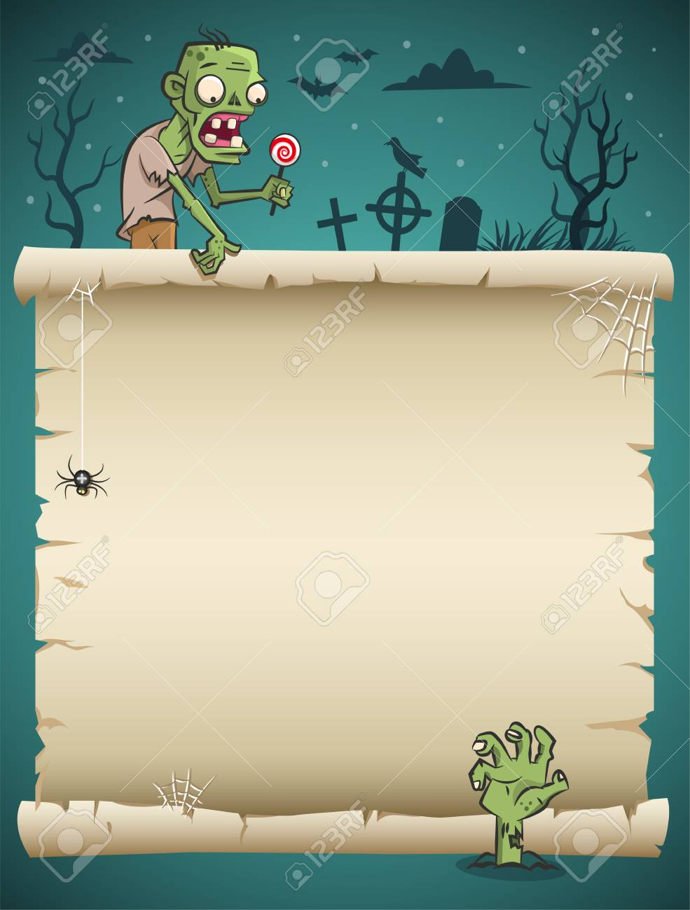 Halloween blank paper scroll with zombie and nighty background - 110834827