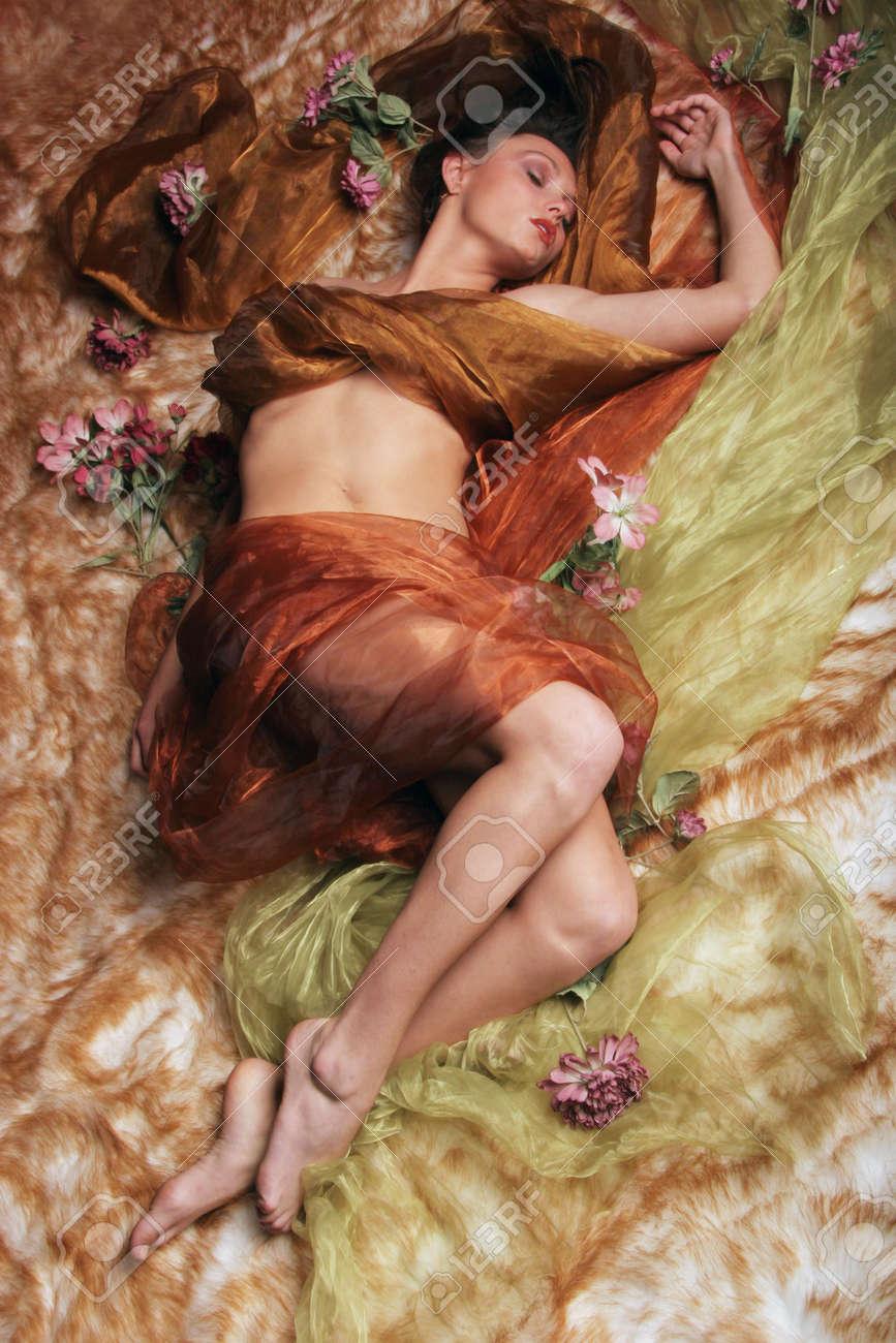 Sexy woman in silk Stock Photo - 697184