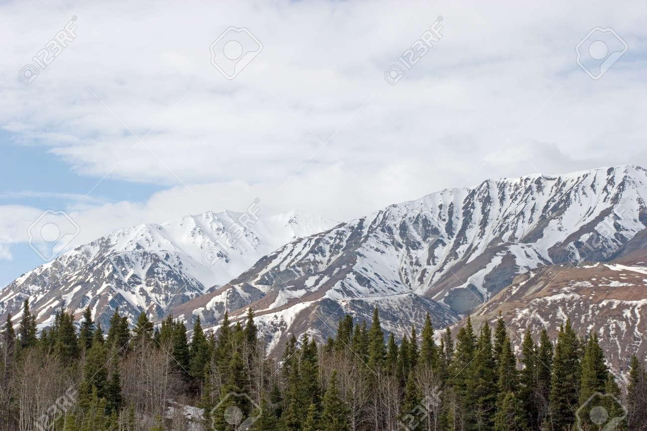 Snow melting on mountains in Alaska Range Stock Photo - 1620665