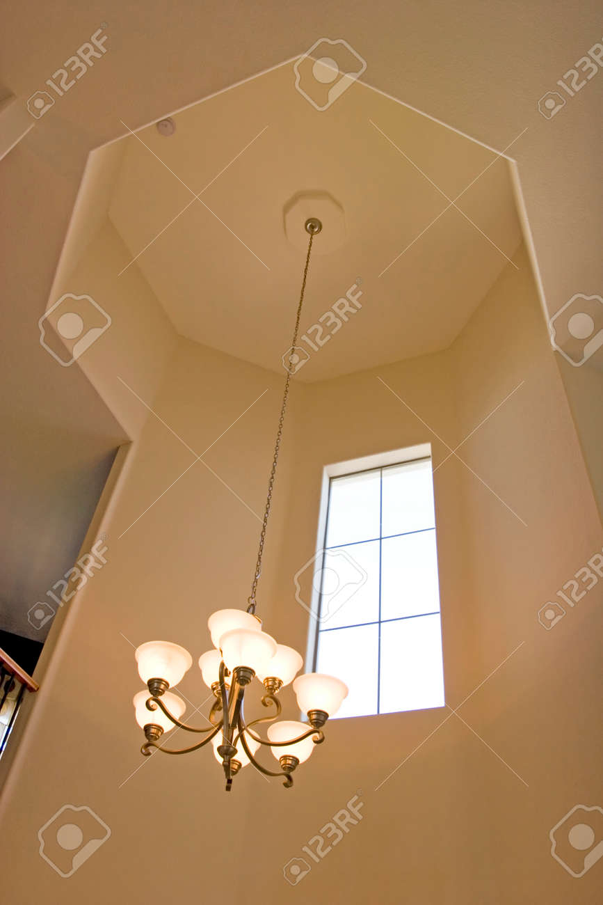 Entrance Chandelier On High Ceiling Stock Photo Picture And Royalty