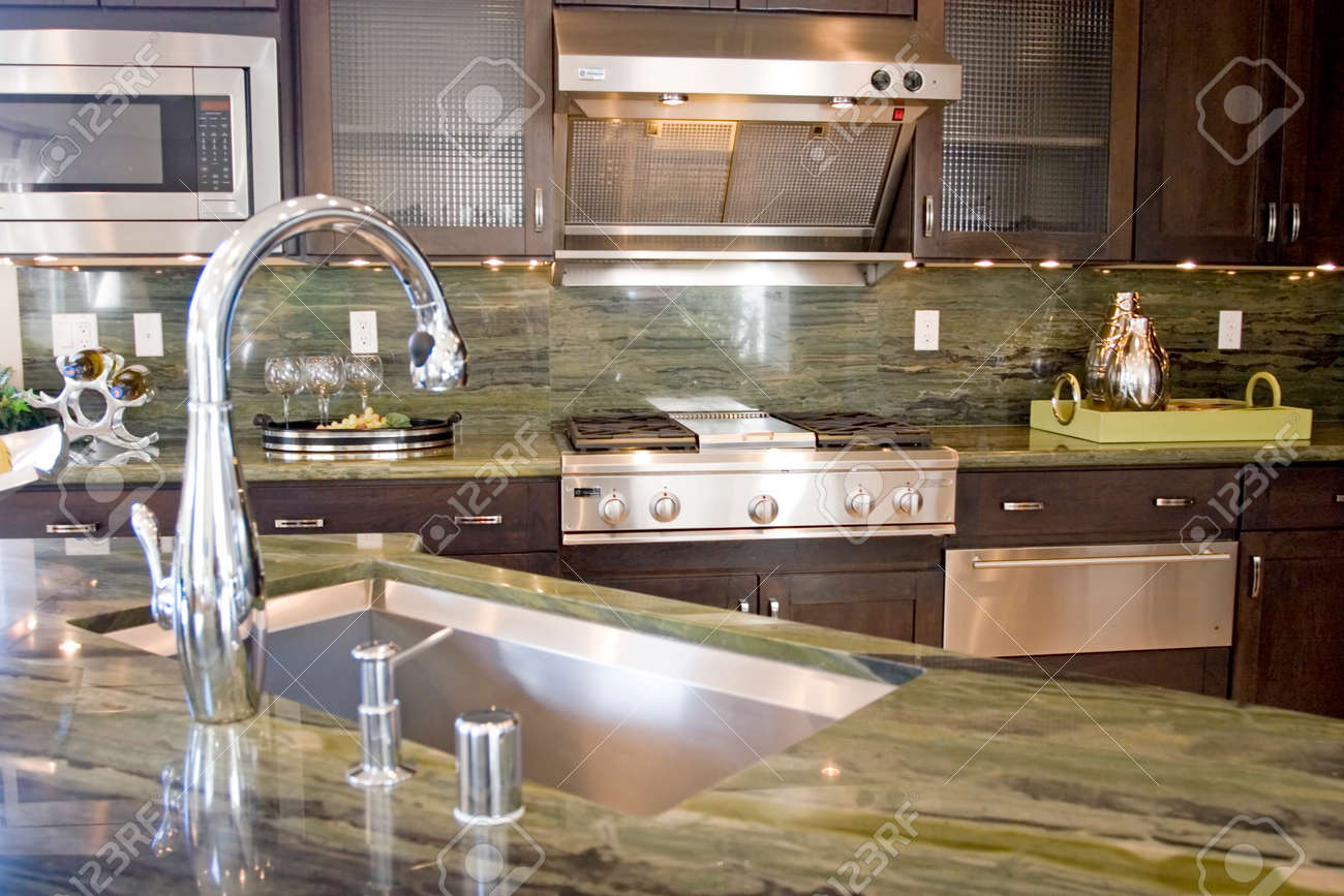 stock photo modern kitchen with granite countertops
