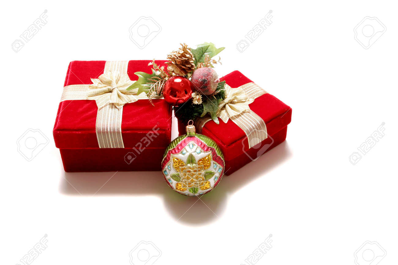 Christmas presents in red gift boxes Stock Photo - 2077806