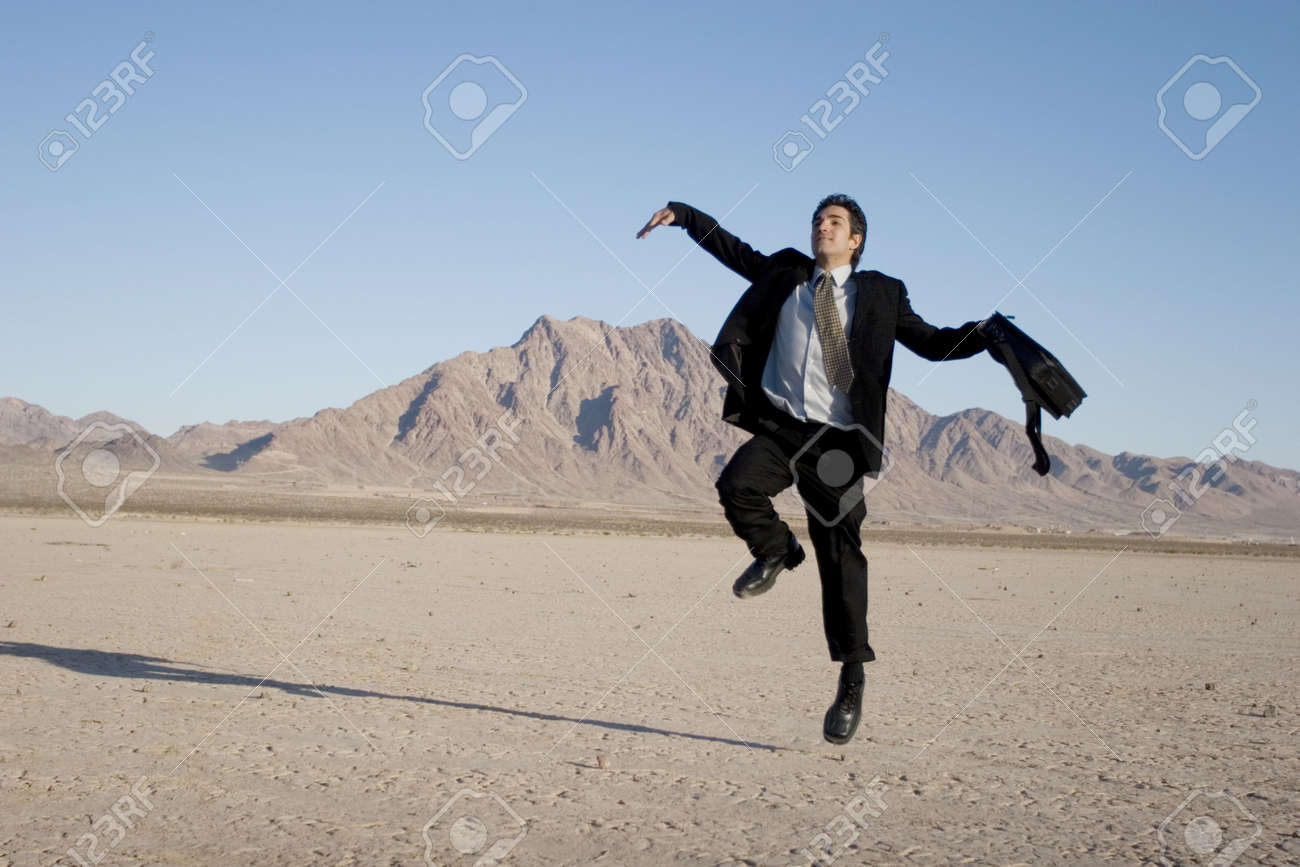 Ecstatic business man jumping in the air Stock Photo - 2084179