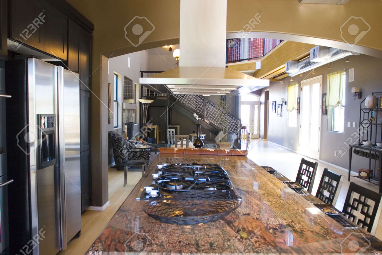 Kitchen With Granite Modern Kitchen With Granite Countertops Stock Photo Picture And