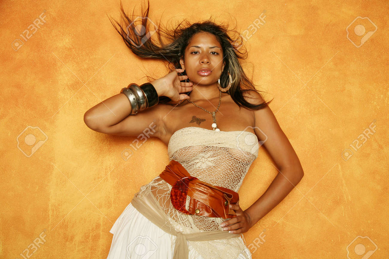 Sexy African American woman in stylish dress Stock Photo - 2291999