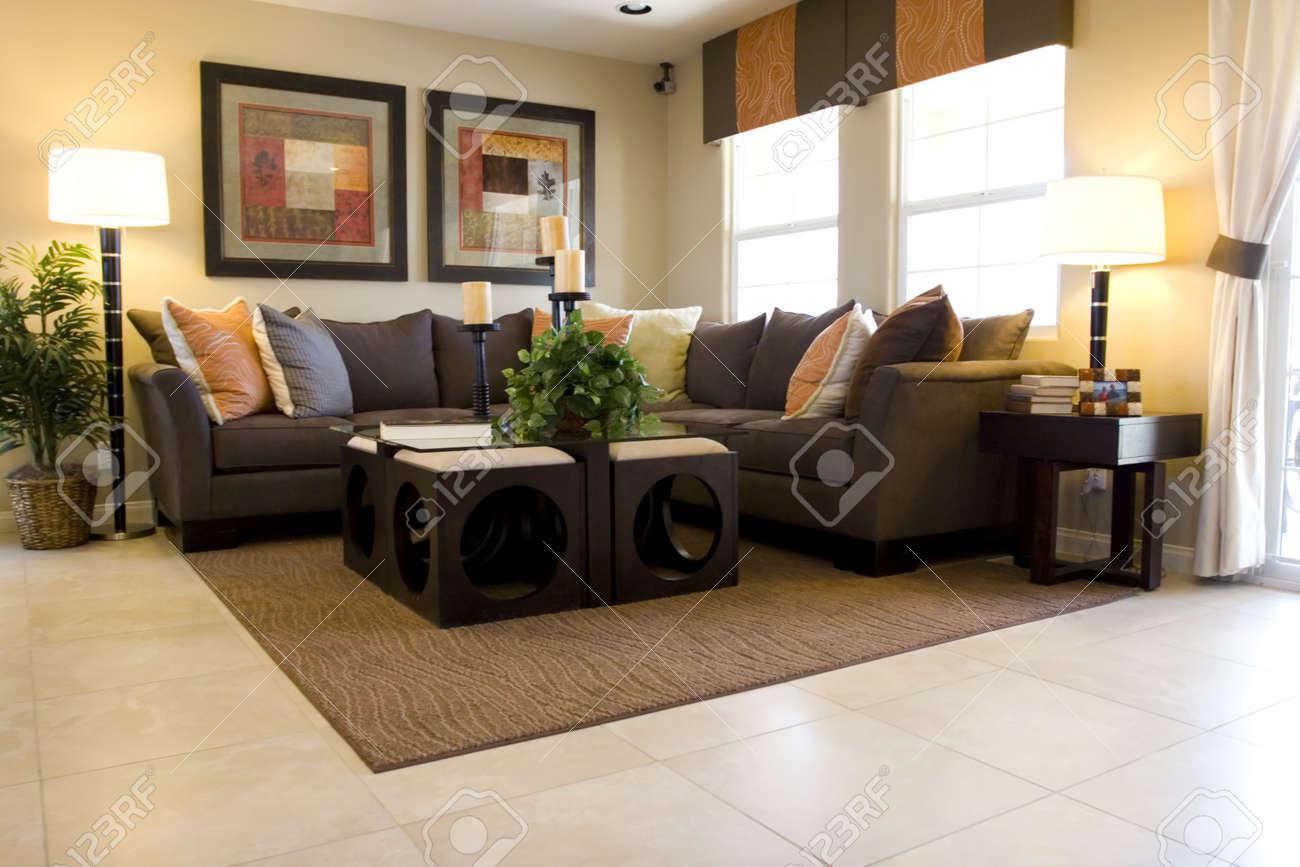 Moderne geschmackvoll eingerichtete wohnzimmer lizenzfreie bilder 2370156