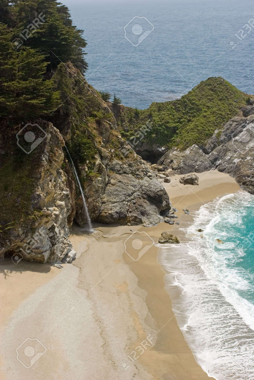 Waterfall falling into the Pacific Ocean Stock Photo - 2733596