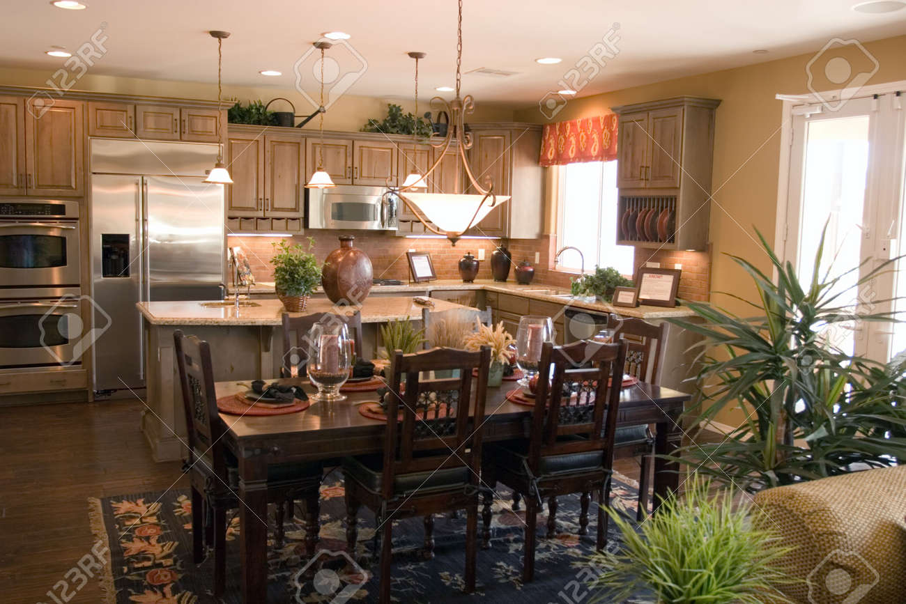 Kitchen Dinner Modern Luxury Kitchen And Dinner Table Stock Photo Picture And