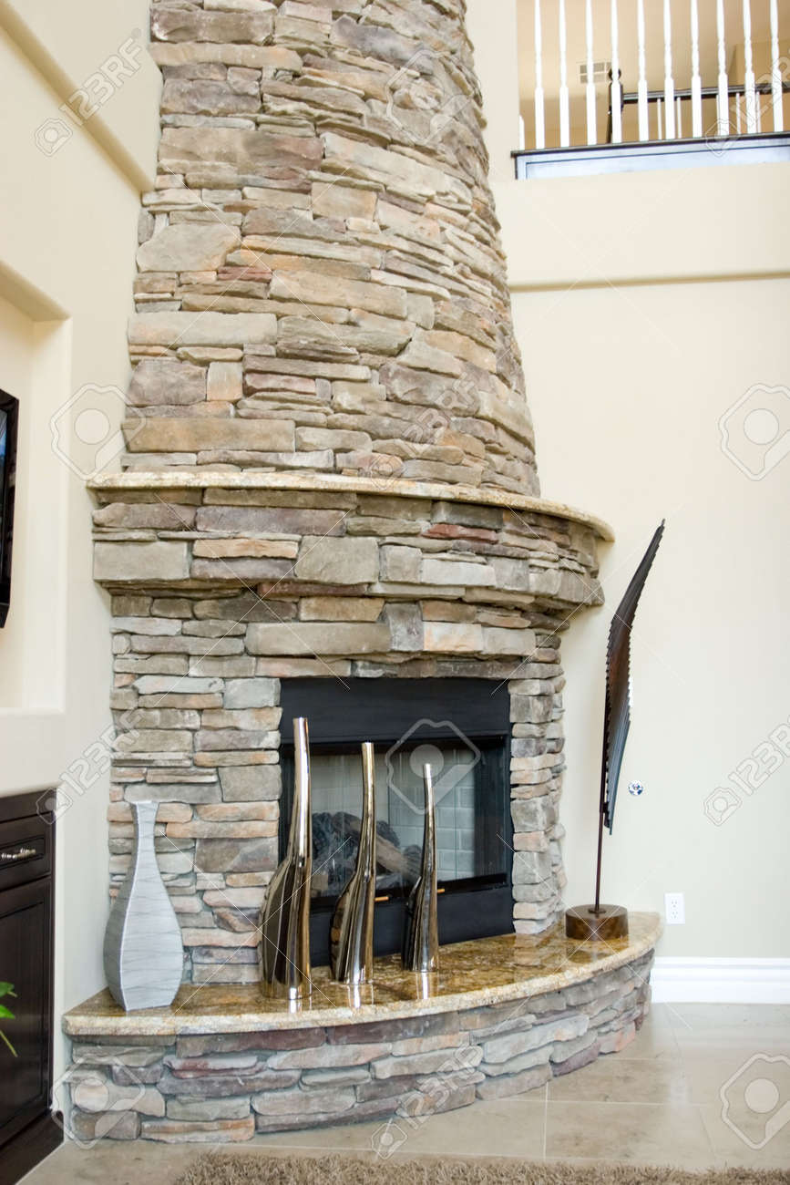 Modern stone fireplace in the living room Stock Photo - 3365246