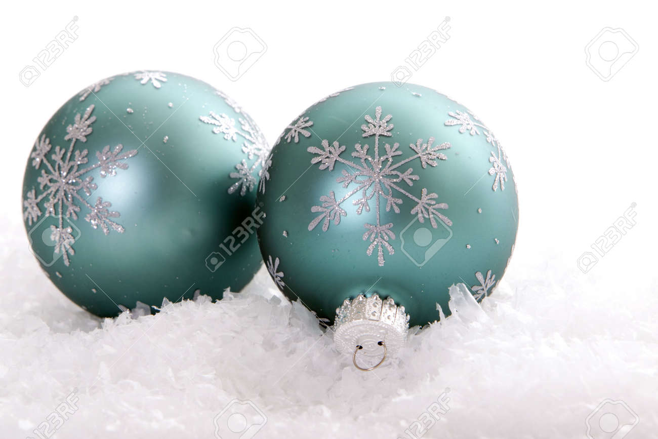 Beautiful Christmas Ornaments beautiful christmas ornaments in snow stock photo, picture and