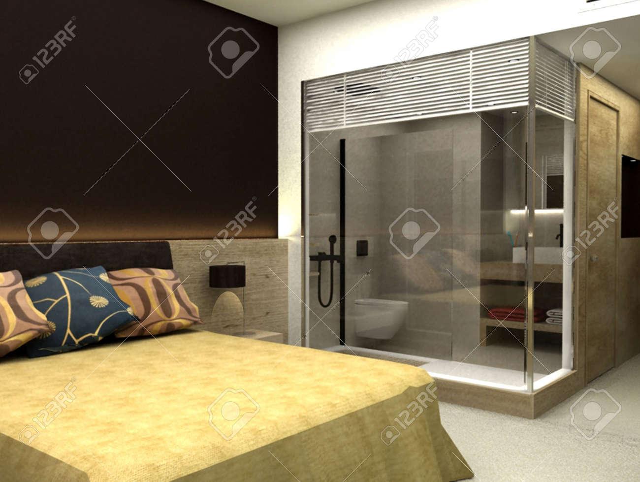 rendering 3d di camera da letto o stanza d'albergo foto royalty ... - Camera Da Letto O
