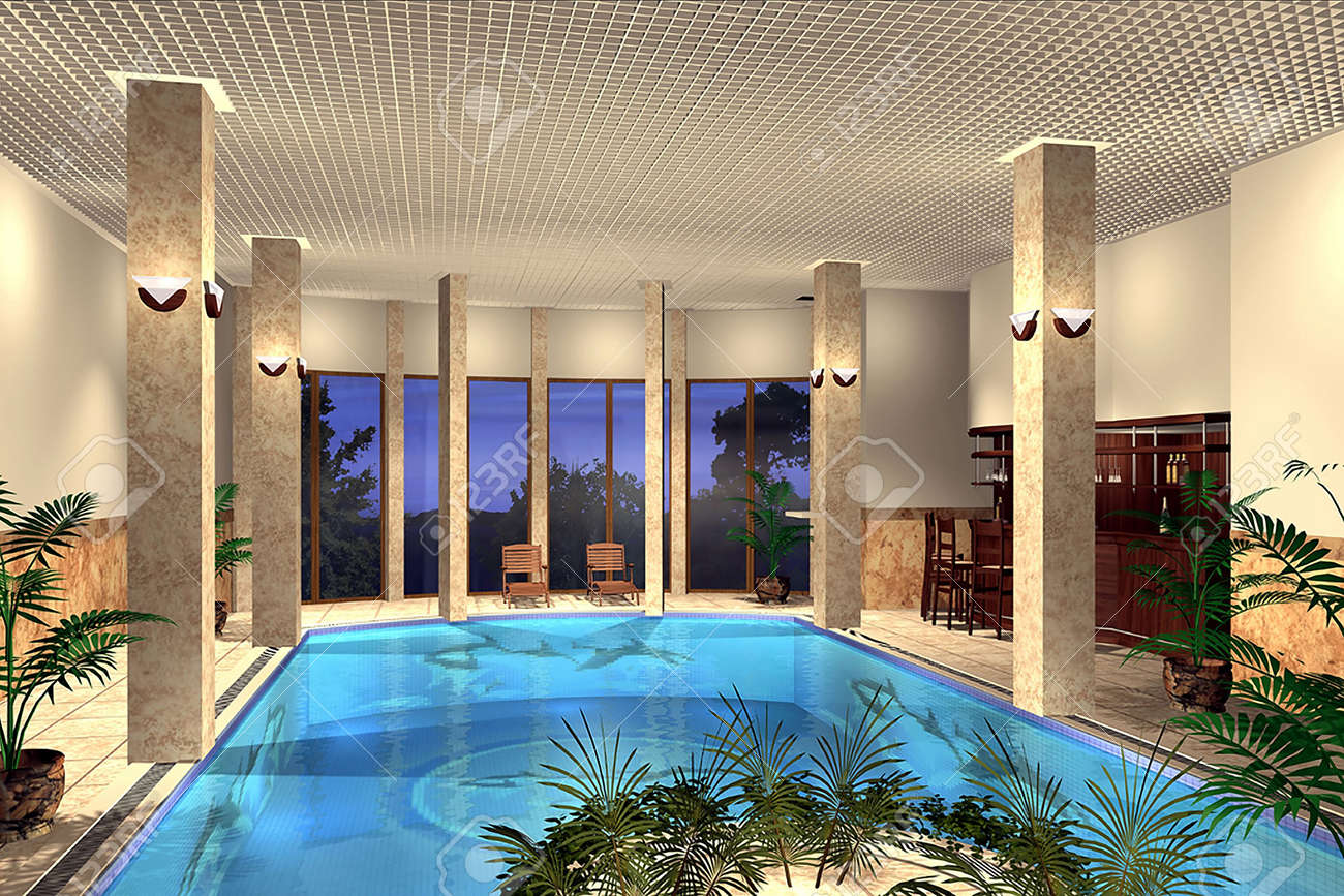3D Render Of An Indoor Swimming Pool Stock Photo, Picture And ...