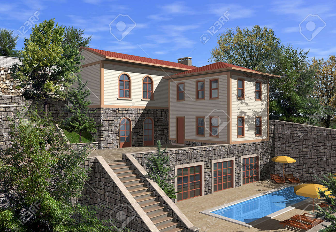 3d render of a single family house stock photo picture and 3d render of a single family house stock photo 5256048