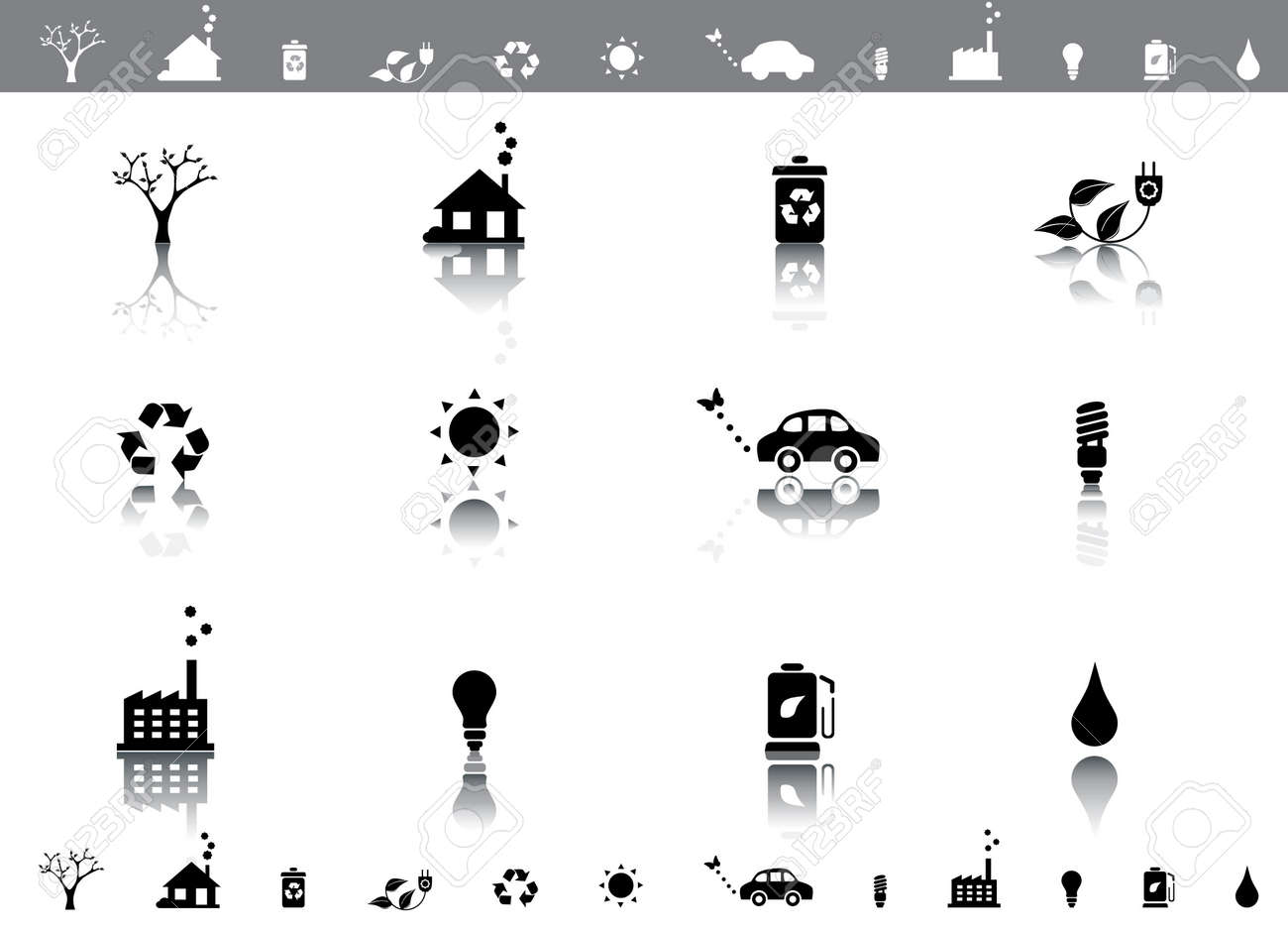 Eco icons with reflections Stock Photo - 5300248
