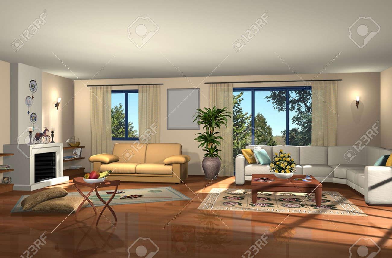 3D render of modern living room Stock Photo - 5374332