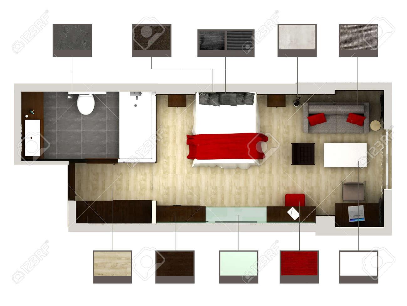 3d rendering di camera da letto o stanza foto royalty free ... - Camera Da Letto O