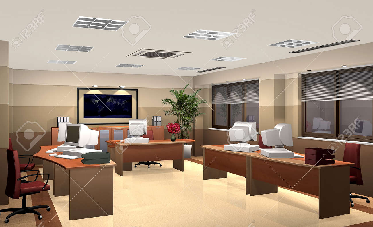3D rendering of an office Stock Photo - 6205275