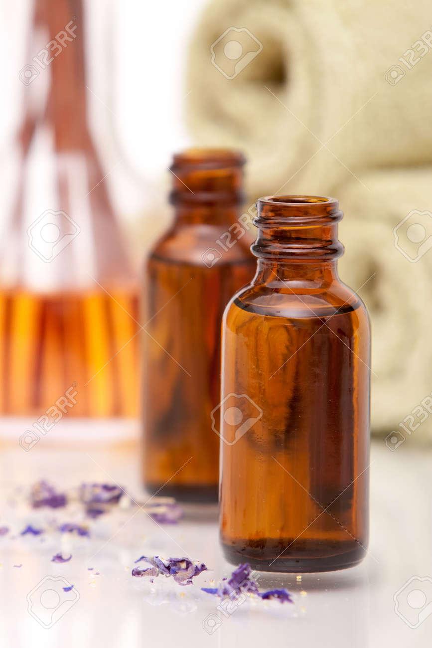 Aromatherapy oils on white background Stock Photo - 6369995