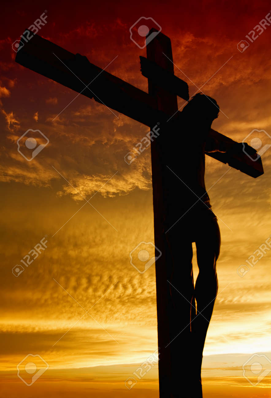 Crucifixion Of Jesus During Sunset Stock Photo Picture And Royalty