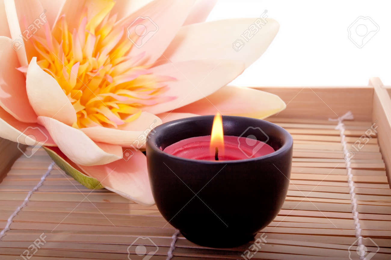Spa candle and beautiful lotus flower for aromatherapy meditation spa candle and beautiful lotus flower for aromatherapy meditation stock photo 8312963 izmirmasajfo Gallery