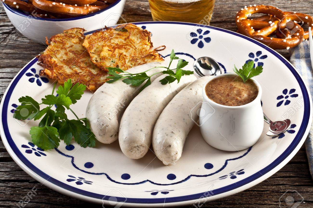 weisswurst with sweet bavarian mustard and pretzels Stock Photo - 11220875