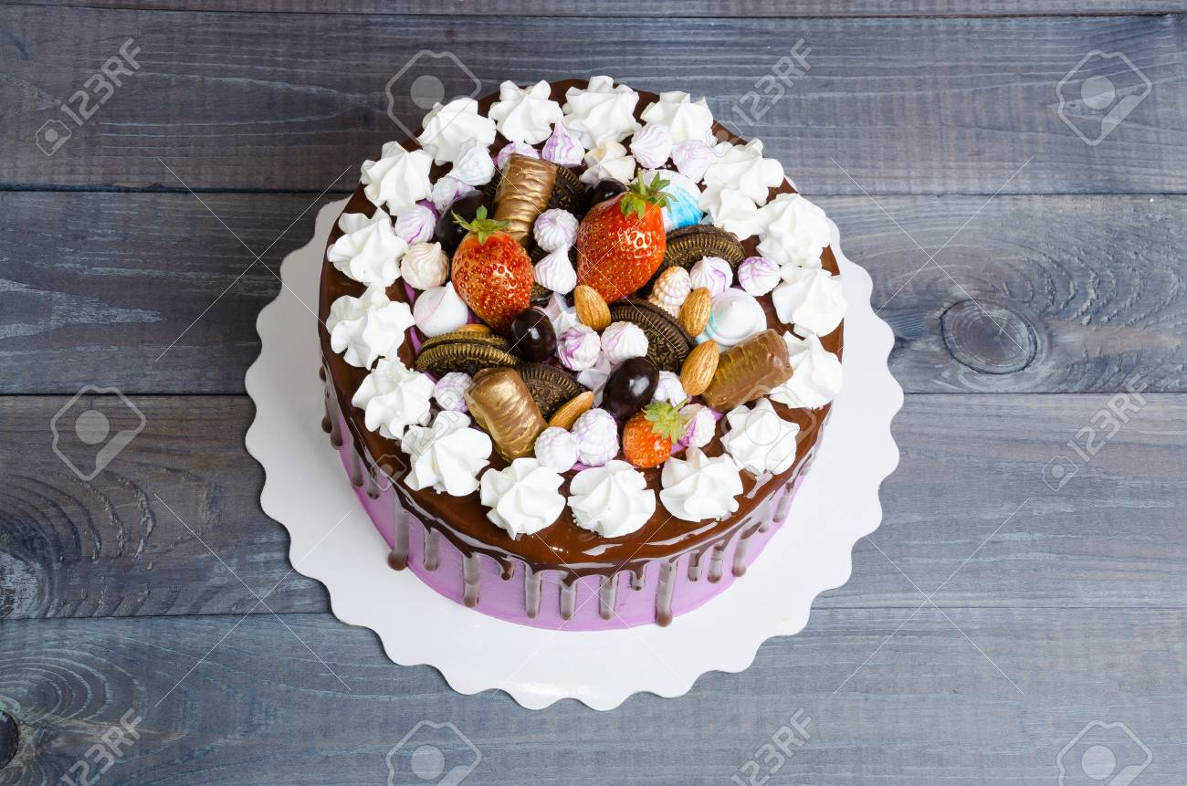 Wedding Anniversary Cake With Merengue And Chocolate Decoration