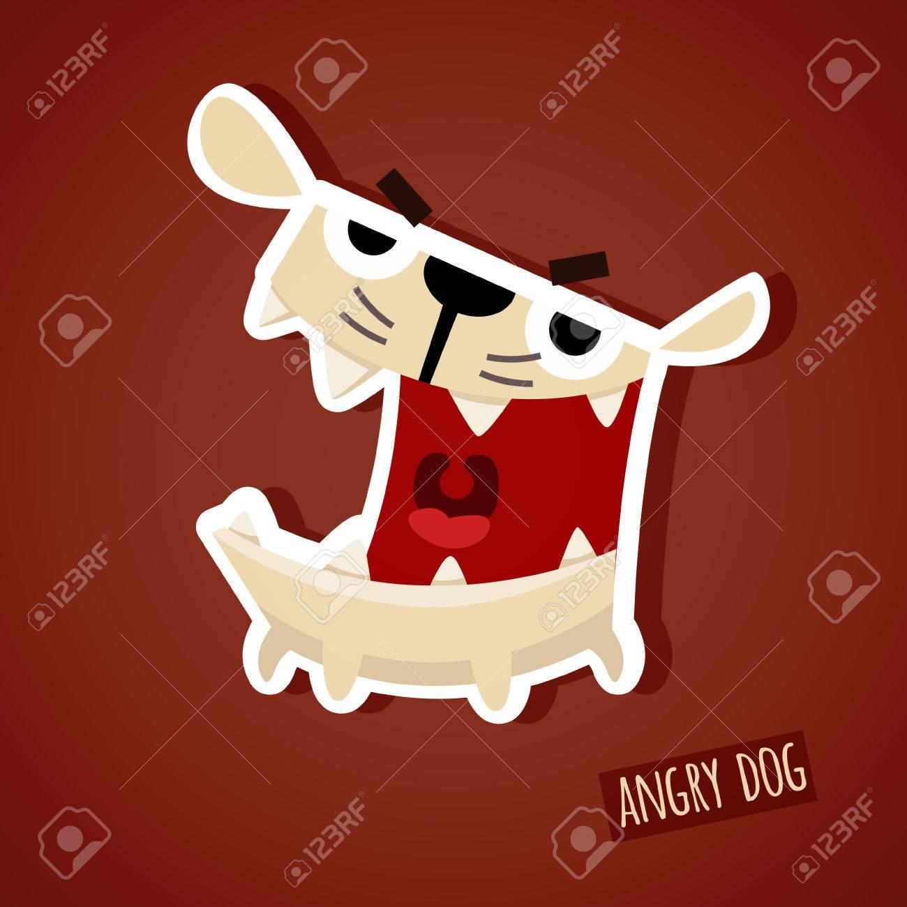 かわいい面白い怒っている犬のベクター イラストですeps 10 ファイル
