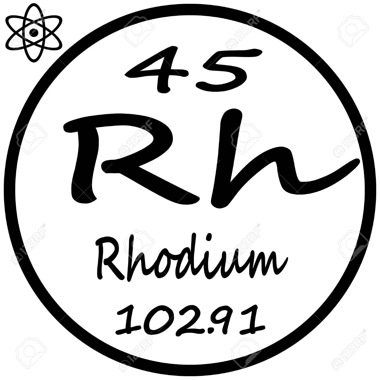 Periodic table of elements rhodium royalty free cliparts periodic table of elements rhodium stock vector 53482495 gamestrikefo Image collections