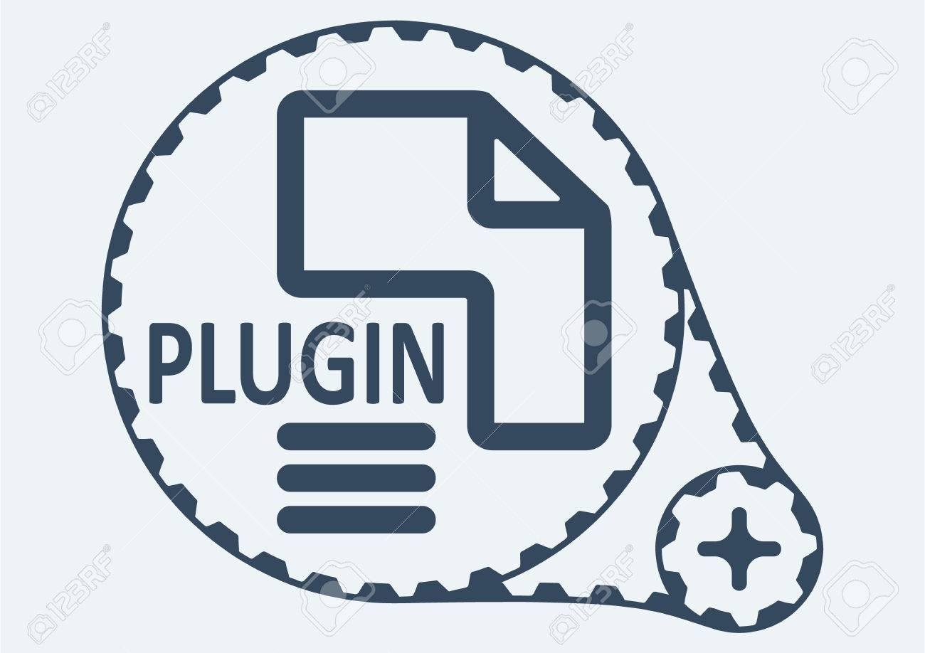 Flat Vector illustration. PLUGIN file extension. PLUGIN Icon Graphic. PLUGIN symbol. PLUGIN