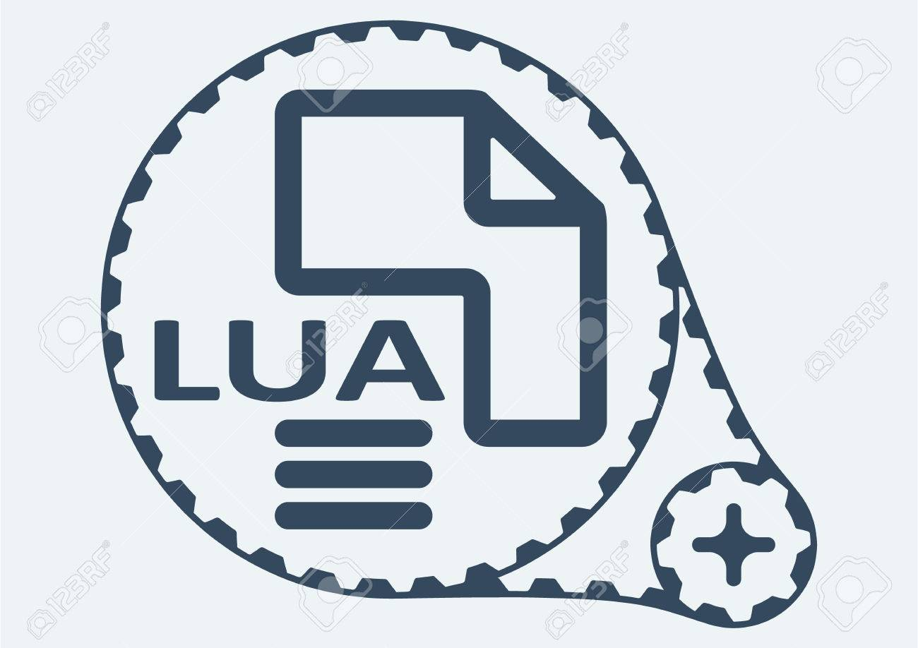 Flat Vector illustration  LUA file extension  LUA Icon Graphic