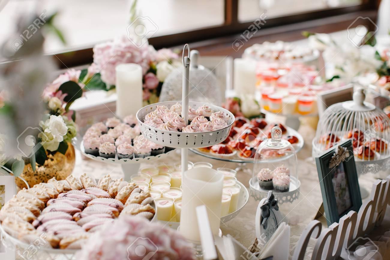 Wedding Candy Bar.Closeup Shot Of A Wedding Candy Bar Decoration Elements